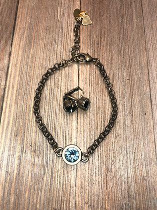Single Crystal Bracelet and Earrings