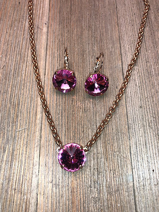 Single Crystal Necklace with Earrings