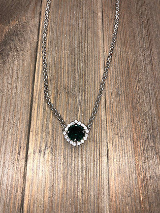 Emerald Single Crystal Necklace with Surrounding Crystals