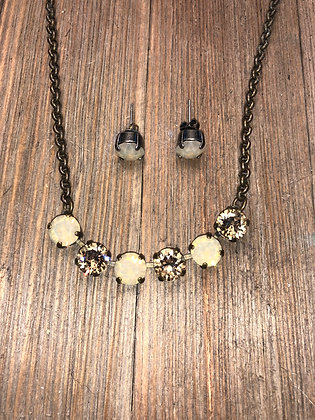 Beige 6 Crystal Necklace with Earrings