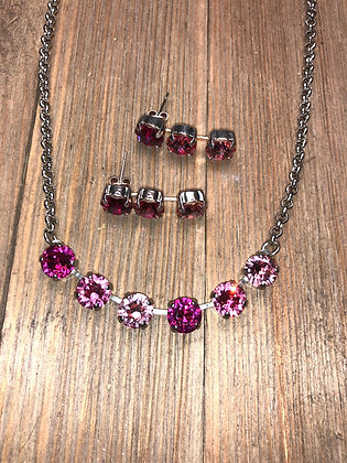 Pink 6 Crystal Necklace with Earrings
