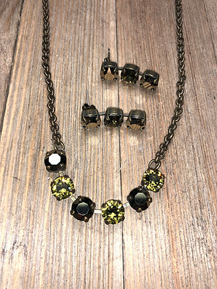 Khaki Green 6 Crystal Necklace with Earrings