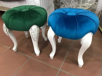İşlemeli Mavi / Yeşil | Döşeme Tabure