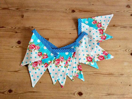 Bright Blue Floral Bunting BTA