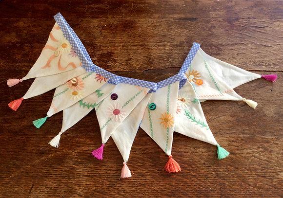 Blue Vintage Embroidery Linen Bunting BTA