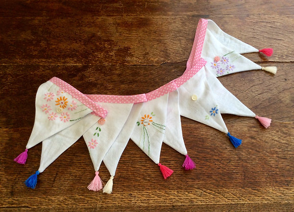 Vintage Linen Embroidery Bunting BTA