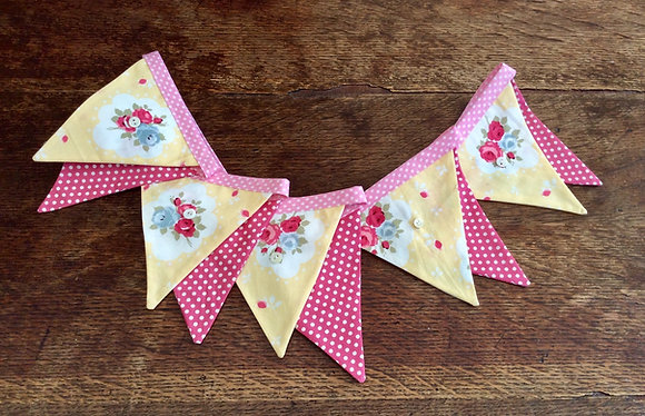 Yellow & Pink Flower Bunting BTA