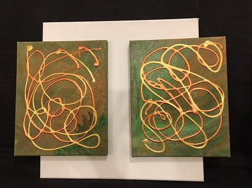 "Open Space in Copper-Green 18""x14"""