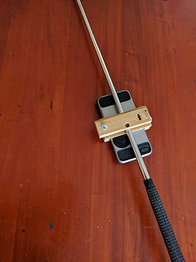 Putter with smartphone attached for vibration analysis -- other side