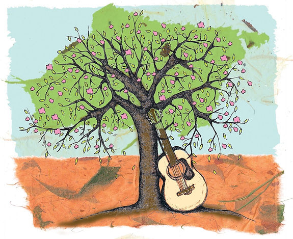 Guitar Leaning on Tree