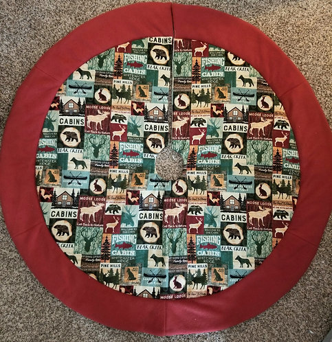 "Back to Nature Christmas Tree Skirt 45"" across with accent Border"