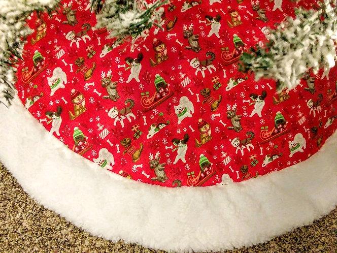 "Happy Dog 45"" Christmas Tree Skirt"