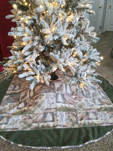 "6 FEET ACROSS! 72"" Hunting Christmas Tree Skirt accented with green fleece"