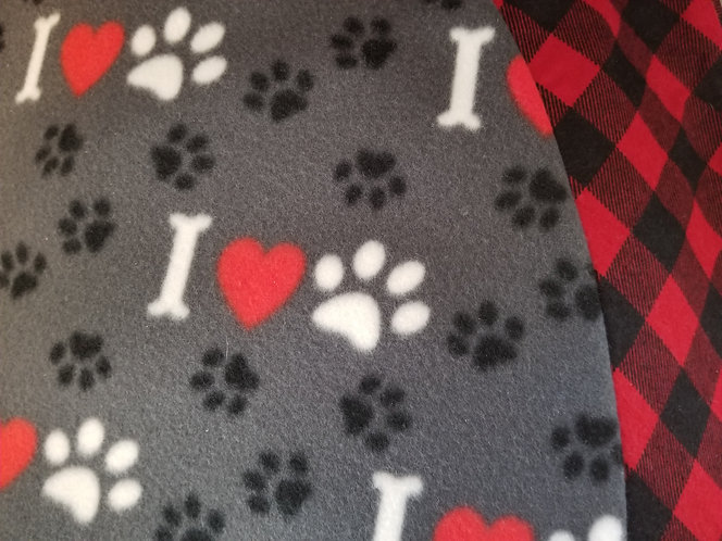I Love Paws 5 Feet Across Christmas Tree Skirt accented with Buffalo Plaid