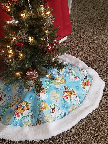 "Happy Snowmen 45"" Across Christmas Tree Skirt"