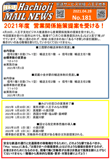 No.181 -2021.4.28- 2021年度営業関係施策提案を受ける