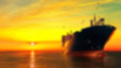 Oil tanker ship at sea on a background o