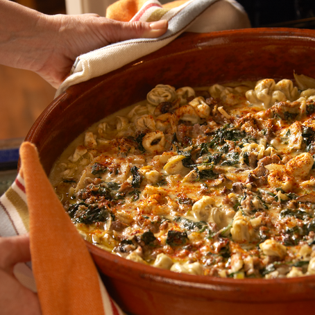 Tortellini al Forno con Salsicce, Finocchio e Funghi