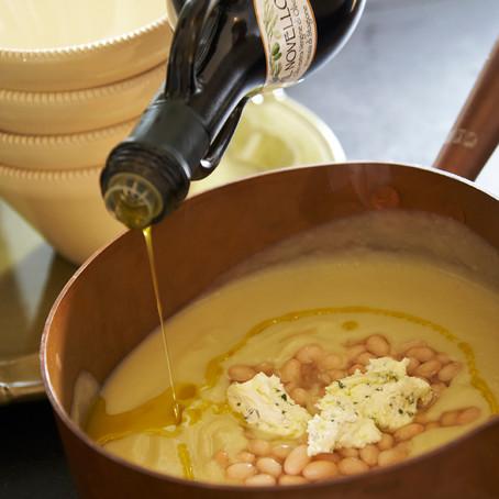 Zuppa di Cavolfiore e Cannellini profumato con Mascarpone al Rosmarino