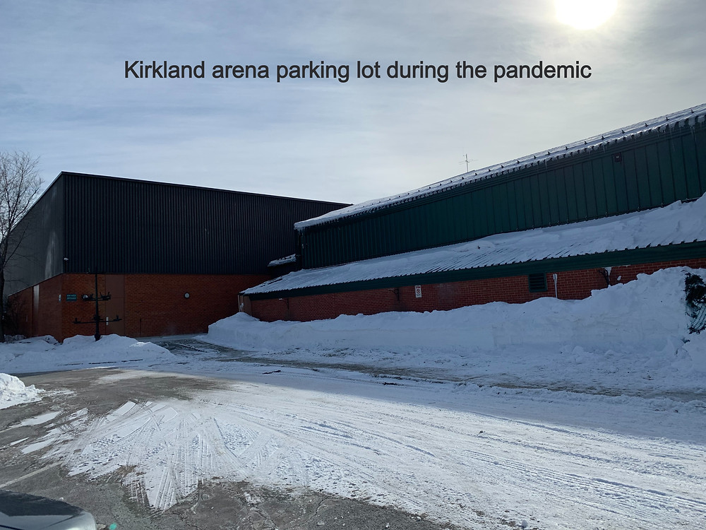 quebec-adult-hockey-leagues-prohibited-players-long-for-the-game-empty-snow-covered-kirkland-arena-parking-lot-during-COVID-pandemic