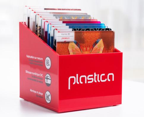 Boîte d'échantillons imprimé sur acrylique