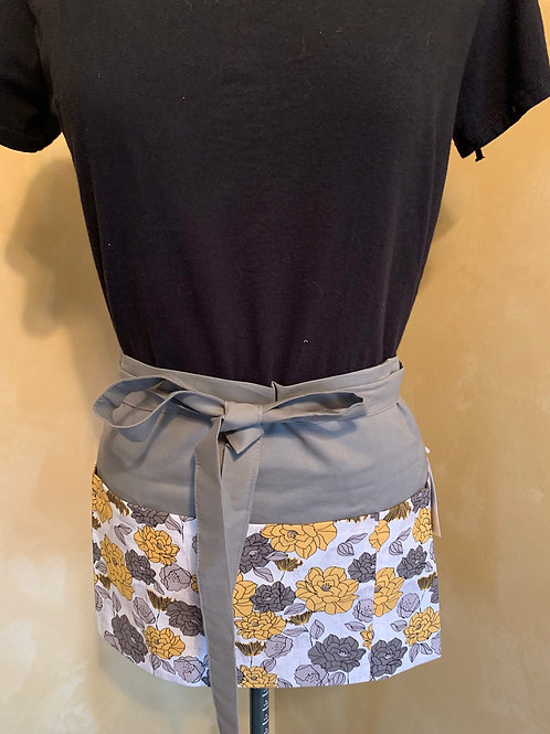 Crafter apron-Gold & Grey Flowers