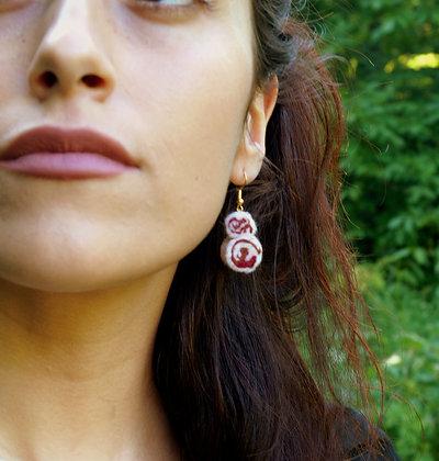 """Boucles """"Perles de laine"""""""