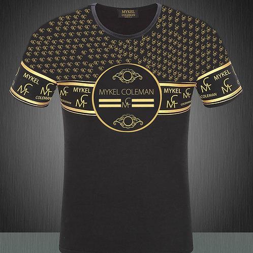 Mykel Coleman Black and Metallic Gold Designer Pattern Shirt