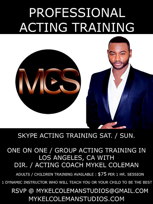 4 hrs Skype Acting Training (4 Lessons)