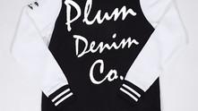 Plum Denim Co. - Lady Varsity Fleece Jacket (Blk & White)