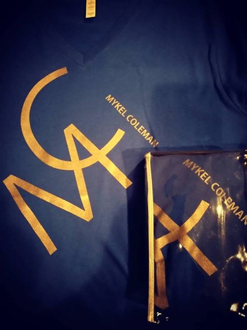 MC Mykel Coleman - Navy and Gold V-Neck