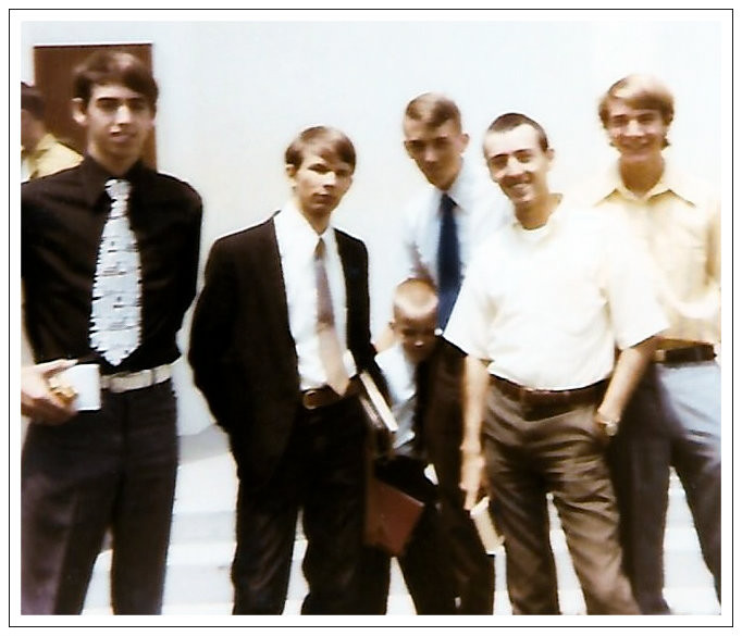 Uncle Dave, Marvin Haynes, Robert and John Beverly, Brother Gary, Phil Sutherin.  1971