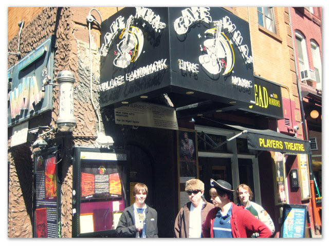 The Other Guys in front of Cafe Wha, Greenwich Village, April 14 2011.  L-R: Jody Rollins, Caleb Lee, Tyler Merritt, Connor Griffin