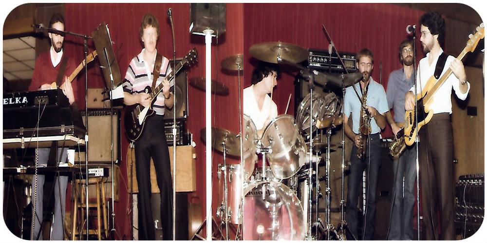 DHB at Sir Henry's, 1981.  L-R: Uncle Dave, Joe Shear, Jim Hopkins, Joey Smith, Chuck Gerbing, Wayne Scarborough