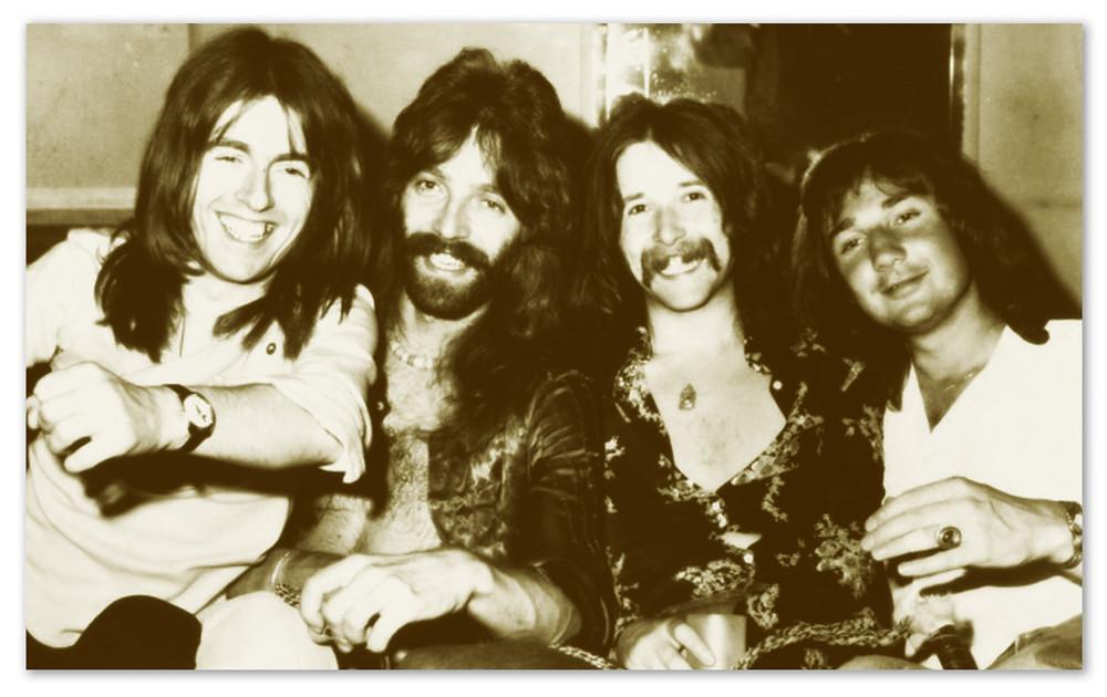 """L-R: """"Lonesome"""" Dave Peverett, Roger Earl, Rod Price, Tony Stevens.  Foghat, 1972."""