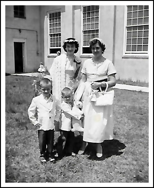 Brother Gary, Uncle Dave, Aunt Quita, and Mama at Calvary Baptist.  Easter Sunday 1956