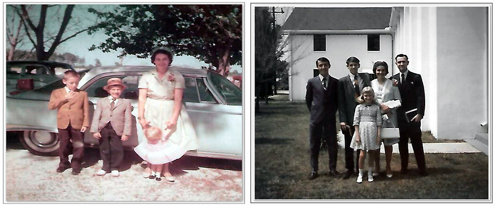 L: Brother Gary, Uncle Dave, Sister Deb, and Dear Mama. 1960  R: Bro. Gary, Uncle Dave, Sis Deb, Mama and Daddy. 1967