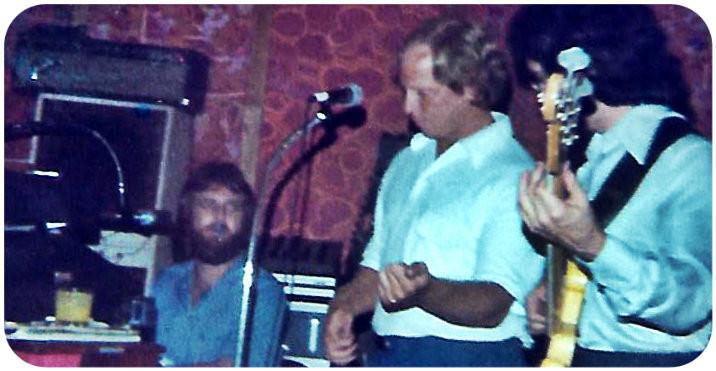 Down Home Band in Savannah, 1978.  L-R: Joe Millen, bar manager, Wayne Scarborough.