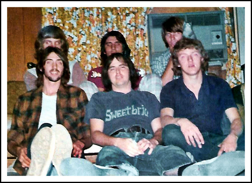 Sweetbriar, 1974.  Clockwise from left rear: Ricky Alderman, Harry Tankersley, Danny Altman, Joe Shear, Billy Ray Herrin, Uncle Dave.