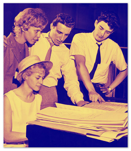 Seated: Carole King  L-R: Cynthia Weil, Barry Mann, Gerry Goffin