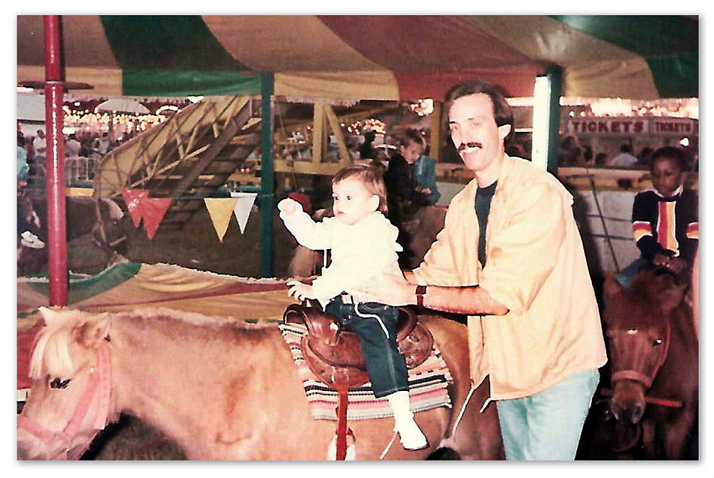 Two-year old Megan Griffin Stewart on Lil' Red.  1985