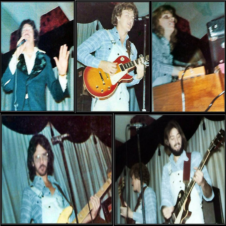 Clockwise from top left: Eddie Middleton, Joe Shear, Ricky Alderman, Uncle Dave, and T. Wayne Scarborough.  I swear John Randall Smith is back there on the Ludwigs.
