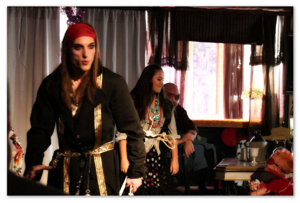 Connor as Jack Sparrow in production of Pan.