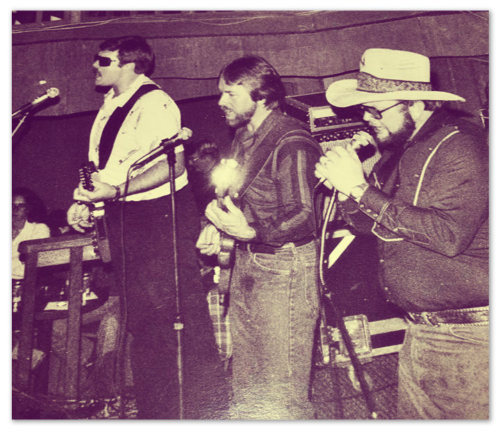Seldom Blues Band.  L-R: George Bessonette, Bob Tanner, Ferrell Howell on the Little Knights honky tonk stage.