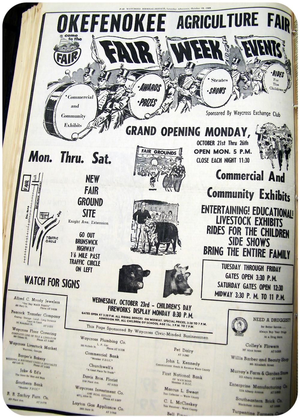 Waycross Journal-Herald ad.  October 19, 1963