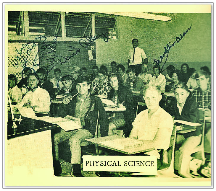 Ninth grade Physical Science class.  Uncle Dave sitting left of David Colley.  Ware County High School, 1967-68.