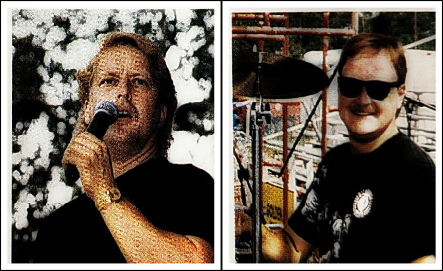 L: Stevie Young, vocals, guitar.  R: Thomas Gibson, drums.
