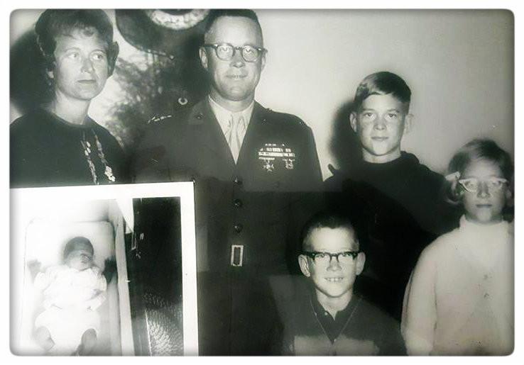 L-R: Miss Teddi, Dick, Tris, Brian, Brenda. Inset: Baby Becky. Albany GA, 1964.