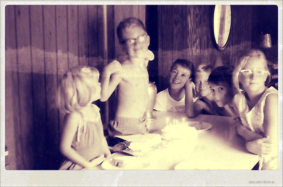 Tris's birthday party.  L-R:  Deb Griffin, Tris Shore, Gary Griffin, Brian Shore, Uncle Dave, Brenda Shore.  Waycross, 1964.