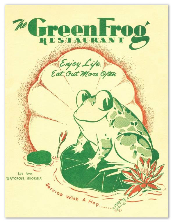 """Service With A Hop"", The Green Frog menu."